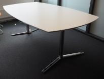 Møtebord / konferansebord fra hvitt / krom, 200x110cm, passer 6-8personer, pent brukt