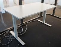 Skrivebord med elektrisk hevsenk fra Linak i hvitt / hvitlakkert understell, 140x80cm, pent brukt