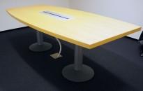 Møtebord / konferansebord fra bjerk / grålakkert metall, 220x100cm, passer 6-8personer, pent brukt