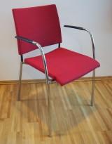 Lammhults konferansestol i rødt stoff / krom, Spira-serie, armlene, pent brukt
