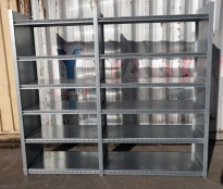 Stålhylle / lagerhylle i galvanisert stål fra Dexion, 210cm høyde, 60cm dybde, 235cm bredde, 12 hylleplater, pent brukt
