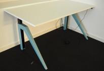 Skrivebord med elektrisk hevsenk i hvitt / turkis understell, modell Cabale fra Holmris, 160x80cm, pent brukt
