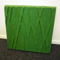 Dekorative, akustiske veggplater for støydemping i kontormiljøer fra Offecct, modell Soundwave® Botanic, 60x60cm, grønn, pent brukt