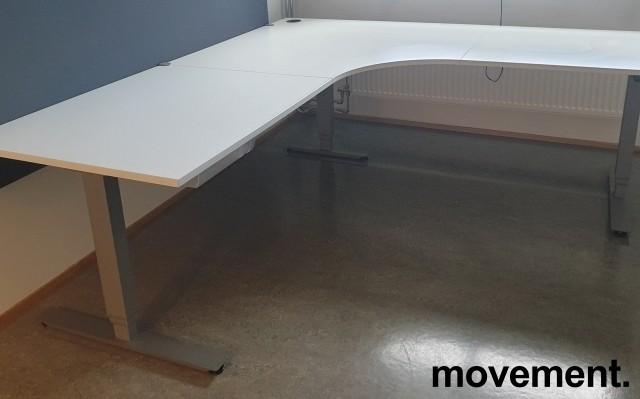 Skrivebord / hjørneløsning med elektrisk hevsenk fra EFG i hvitt / grått, 200x220, pent brukt