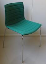 Arper Catifa 46 konferansestol i sjøgrønt stoff / ben i krom, pent brukt