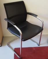 Konferansestol: Sedus Open Up Up-233 sort skinn / mesh rygg / krom ramme, pent brukt
