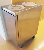 Tallerkendispenser fra Metos i rustfritt stål, 2 stk brønner, max tallerkenmål Ø=28cm, pent brukt