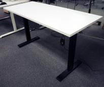 Skrivebord med elektrisk hevsenk i hvitt / sort fra Linak, 140x60cm, NY/UBRUKT