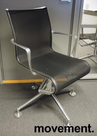 Alias Meetingframe konferansestol i polert aluminium / sort mesh, pent brukt bilde 1