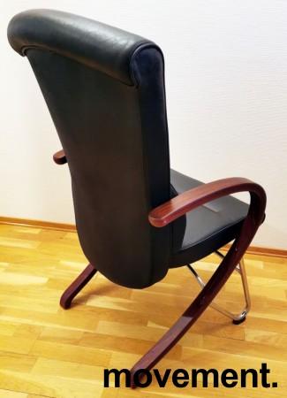 Komfortable møteromsstoler i sort skinn / kirsebær, Signet-serie frå Håg, pent brukt bilde 2