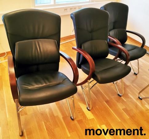 Komfortable møteromsstoler i sort skinn / kirsebær, Signet-serie frå Håg, pent brukt bilde 3