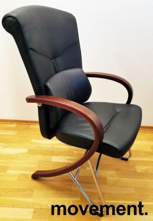 Komfortable møteromsstoler i sort skinn / kirsebær, Signet-serie frå Håg, pent brukt bilde 1