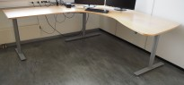 Hjørneløsning elektrisk hevsenk fra Kinnarps i bøk / grått, Oberon, 210x220cm, venstreløsning, pent brukt