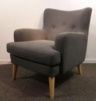 Lenestol / loungestol i mørkt grått stoff, pent brukt